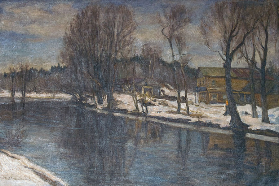 Manuil Khristoforovich Aladzhalov Russia 1862 - 1934. House on the river.