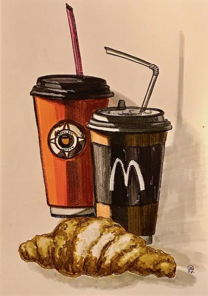 Larissa Lukaneva. Coffee pause. Sketch.
