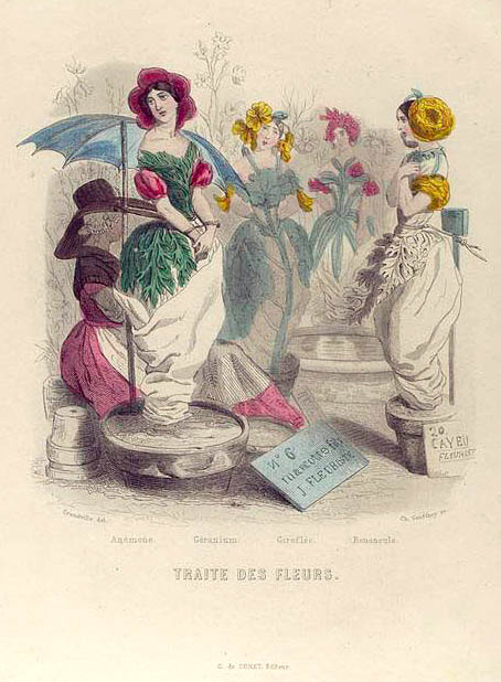 "Jean Inias Isidore (Gerard) Granville. Flower market. The series ""Animate Flowers"""
