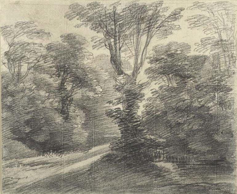 Томас Гейнсборо. Пейзаж с дорогой в лесу