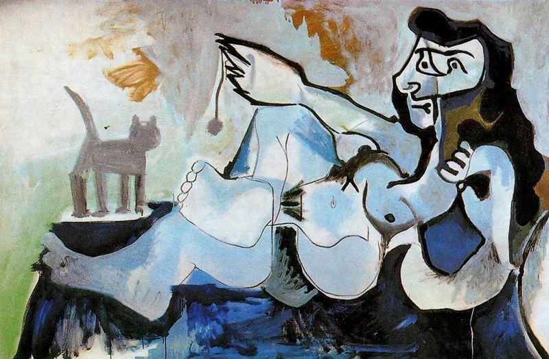 Пабло Пикассо. Лежащая обнаженная, играющая с котом