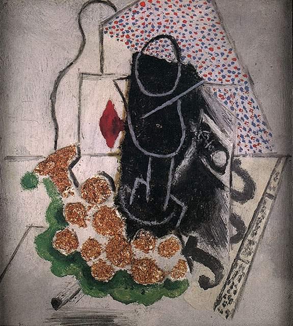 Пабло Пикассо. Гроздь винограда, стеклянная труба и газета
