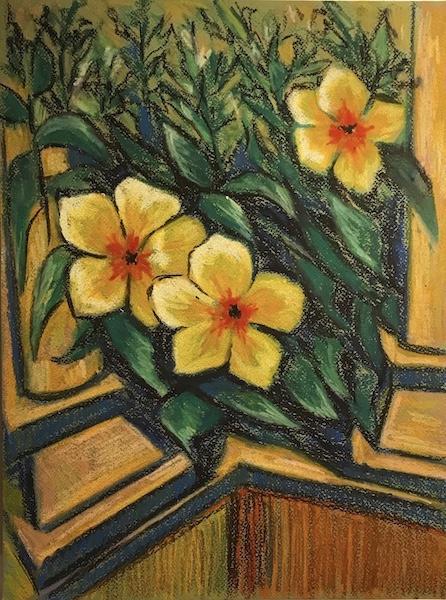 Larissa Lukaneva. Phu Quoc. Yellow flowers. Sketch.