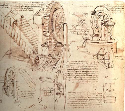 Леонардо да Винчи. Чертежи механизмов для подъема воды