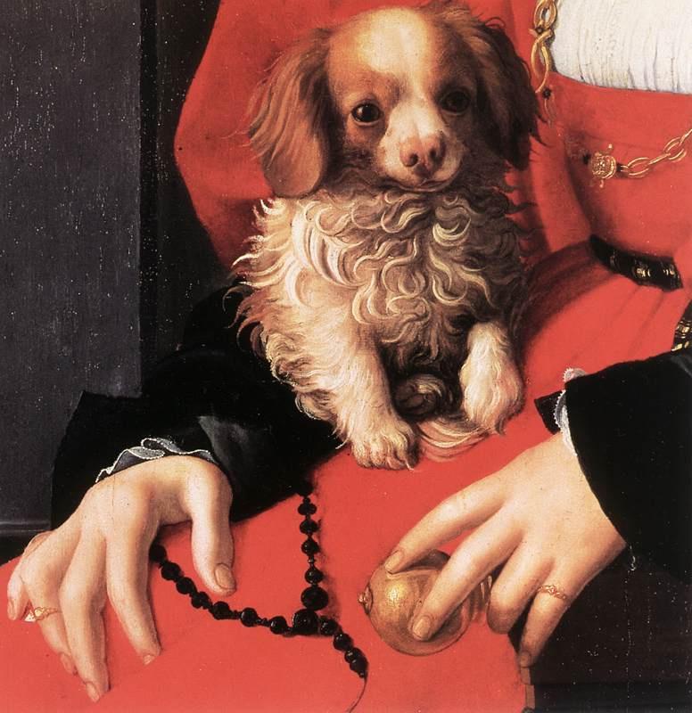 Agnolo Bronzino. Porter ladies in red. Fragment