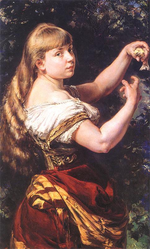 Ян Матейко. Портрет Беаты Матейко, дочери художника, с канарейкой