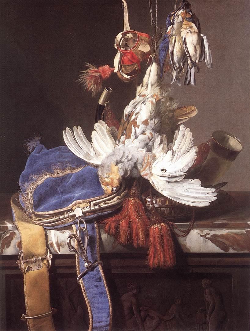Willem van Aelst. Hunting still life with a velvet bag