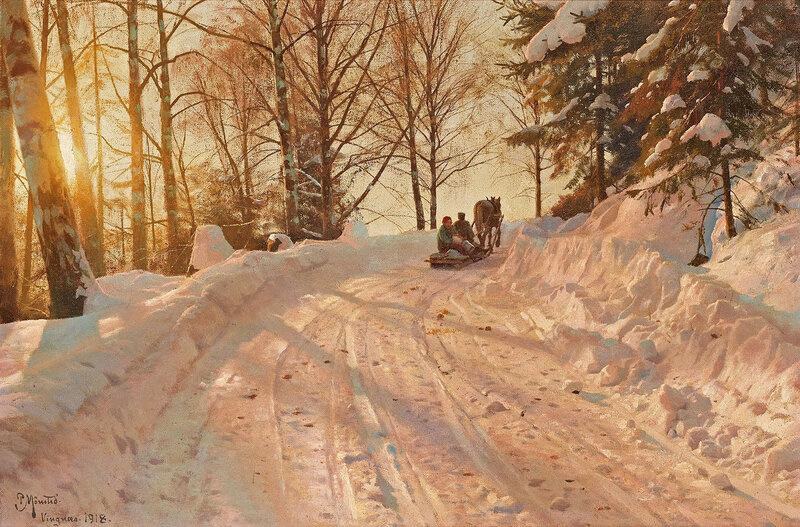 Peder Mørk Mønsted. Winter landscape with sleigh crew