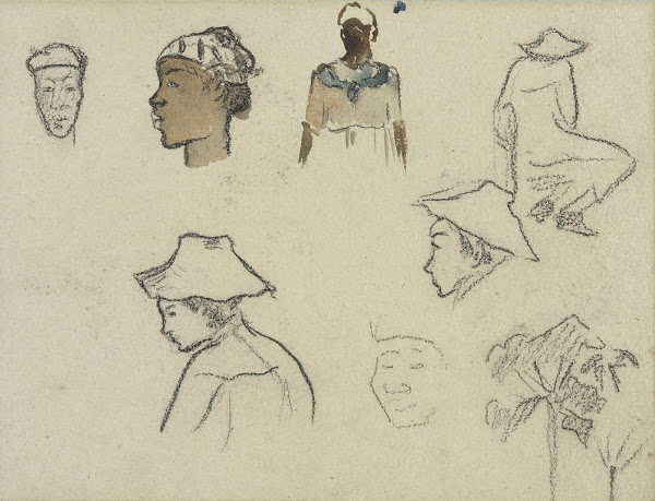 Paul Gauguin. Sketches of Figures and Foliage (recto)