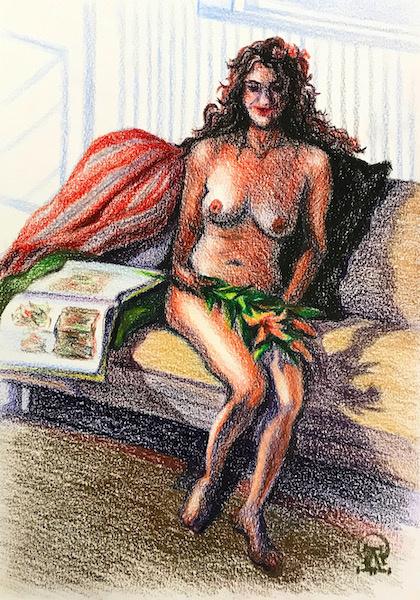 Larissa Lukaneva. Nude with lily