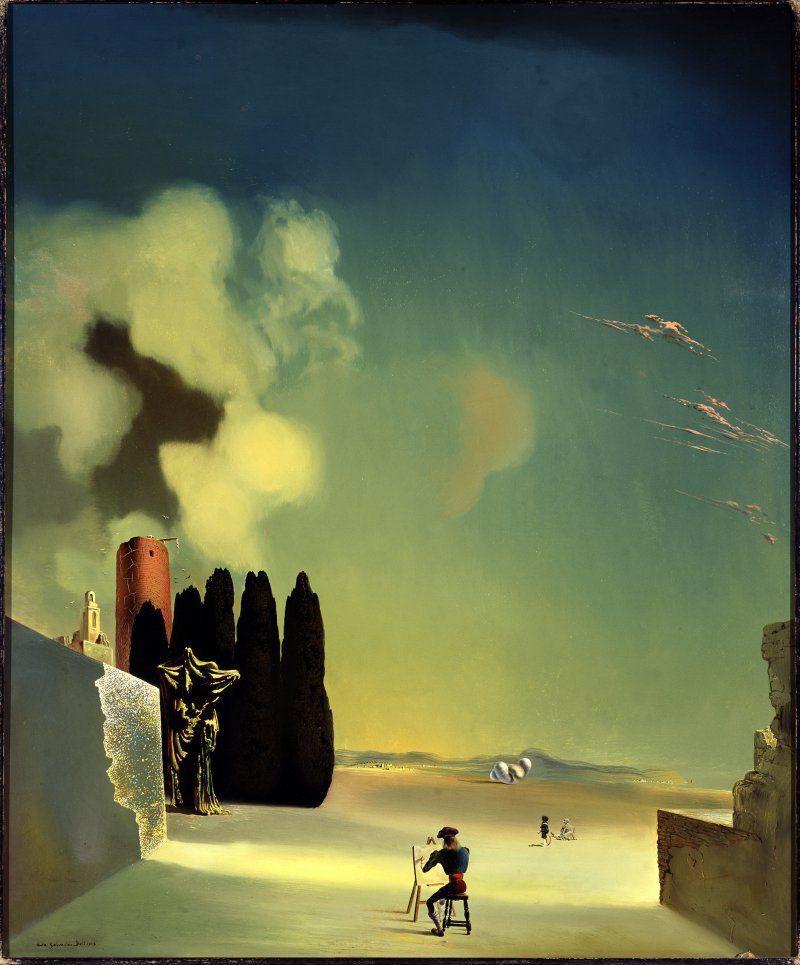 Salvador Dali. Landscape with mysterious details