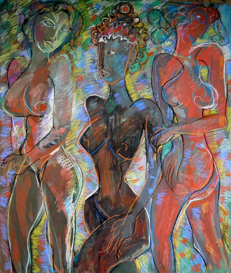 "Victor Tretyakov. ""the three graces"" pastel, gouache on paper"