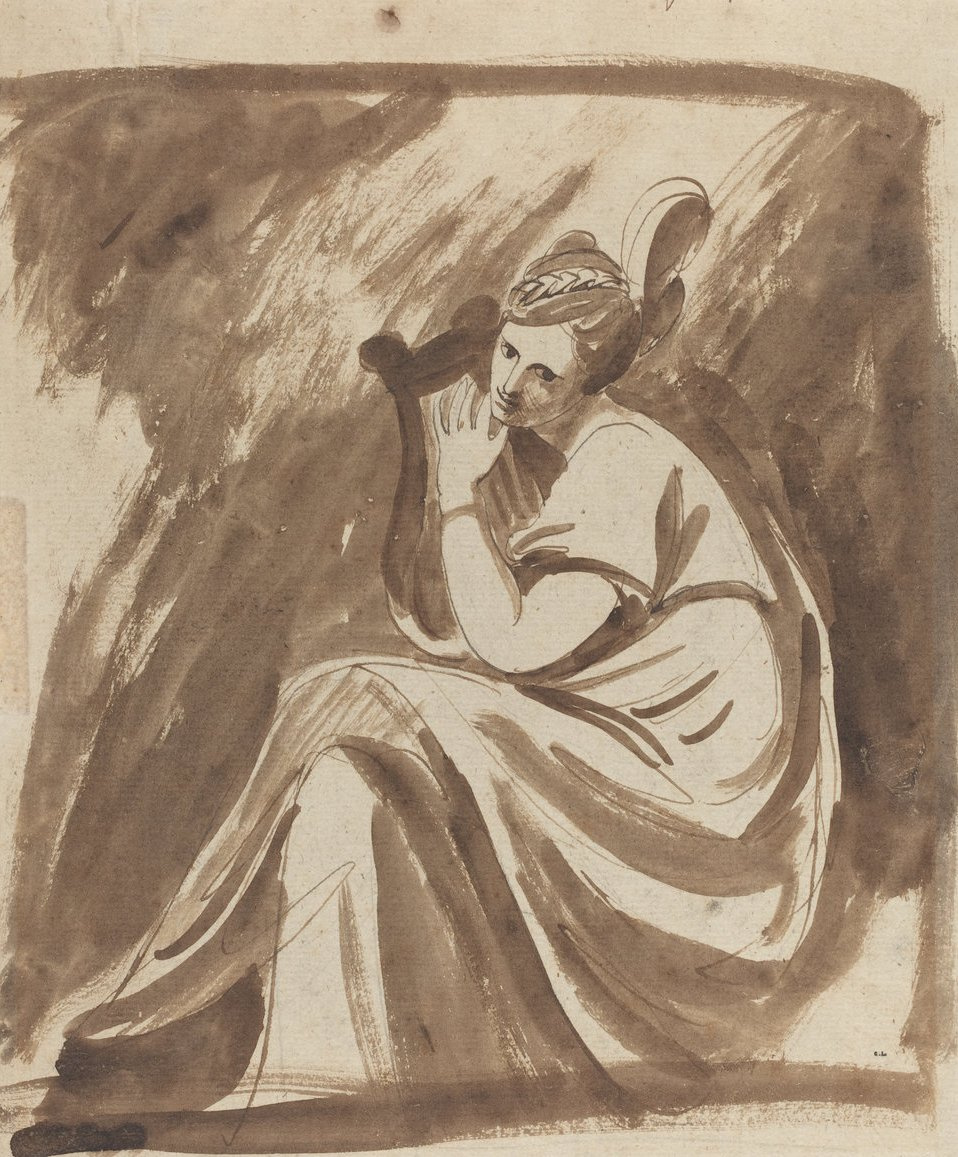 George Romney. Lady Hamilton playing the lyre. Sketch