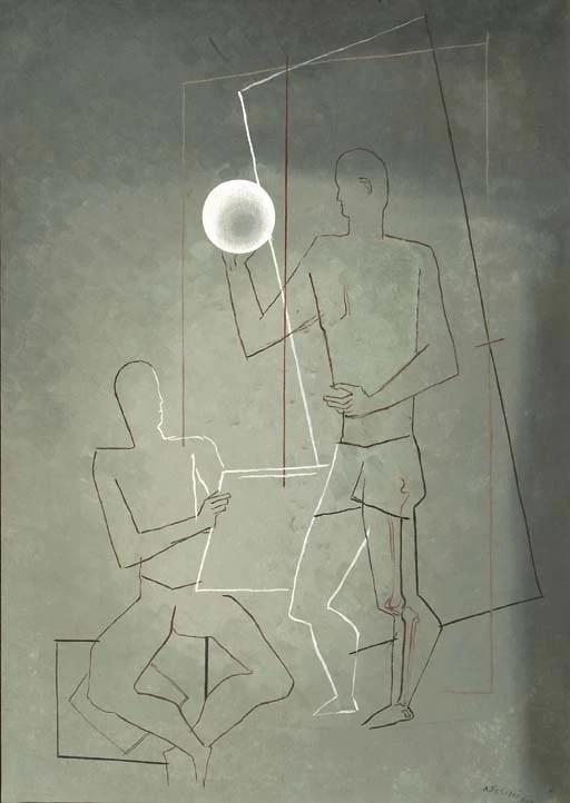 Сандро (Александр) Фазини (Срул Арьевич Файнзильберг). Композиция с двумя мужчинами