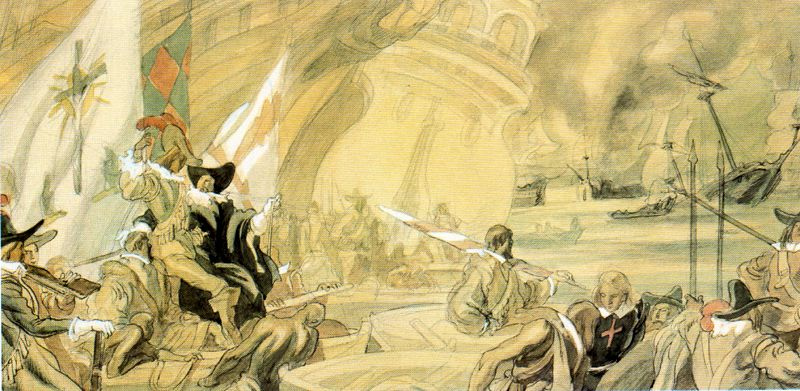Carlos Sáenz de Tejada. Sketch for a fresco about the army