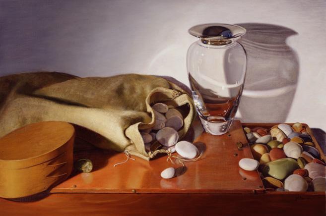 Линда Манн. Натюрморт с вазой из стекла и камнями