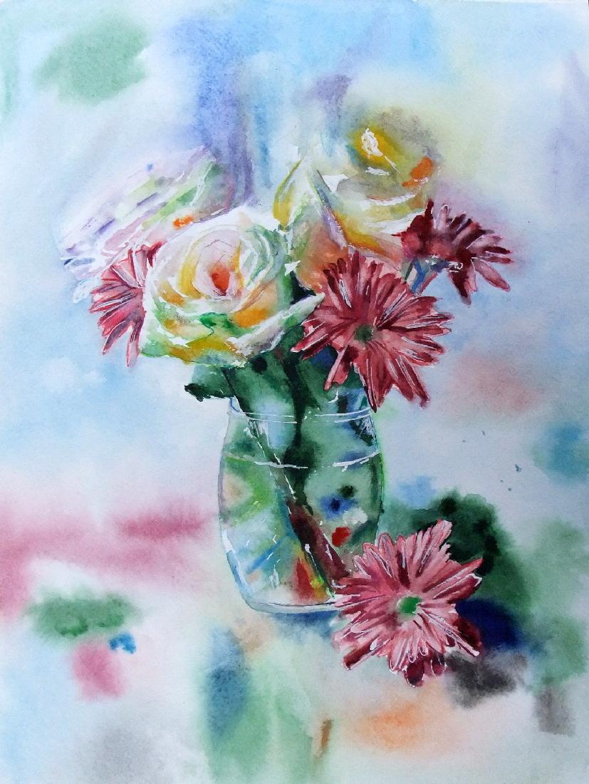 Бальтазар Петров. Георгины и розы