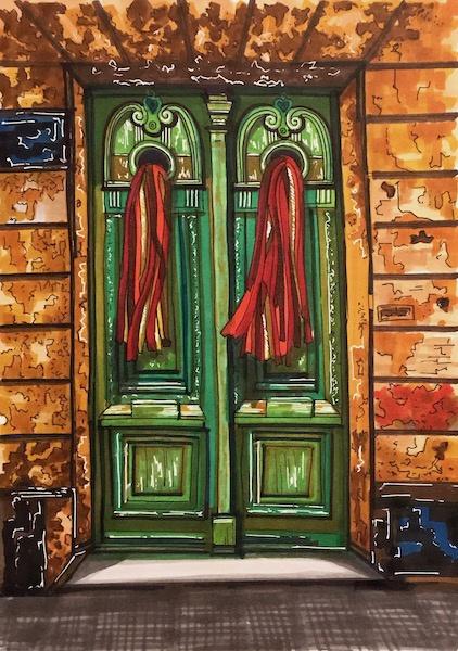 Larissa Lukaneva. A door. Sketch.