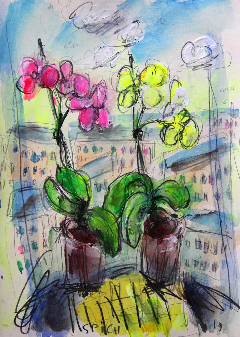 Ilya Pavlovich Spichenkov. Orchids overlooking panel houses