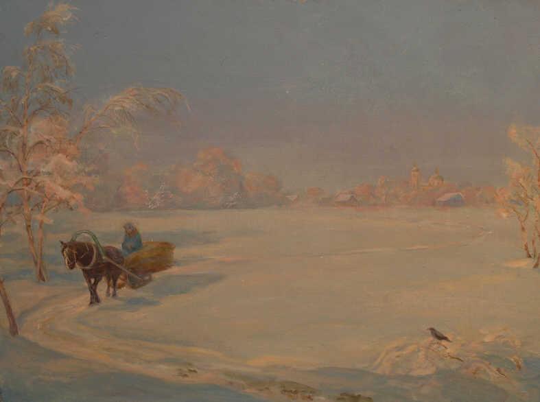 "Iskra Andreevna Bochkova. ""Landscape with a horse-drawn sleigh"""