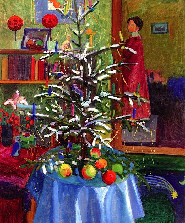 Gabriele Münter. Interior with Christmas tree