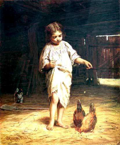 Firs Sergeevich Zhuravlev. Girl with chickens