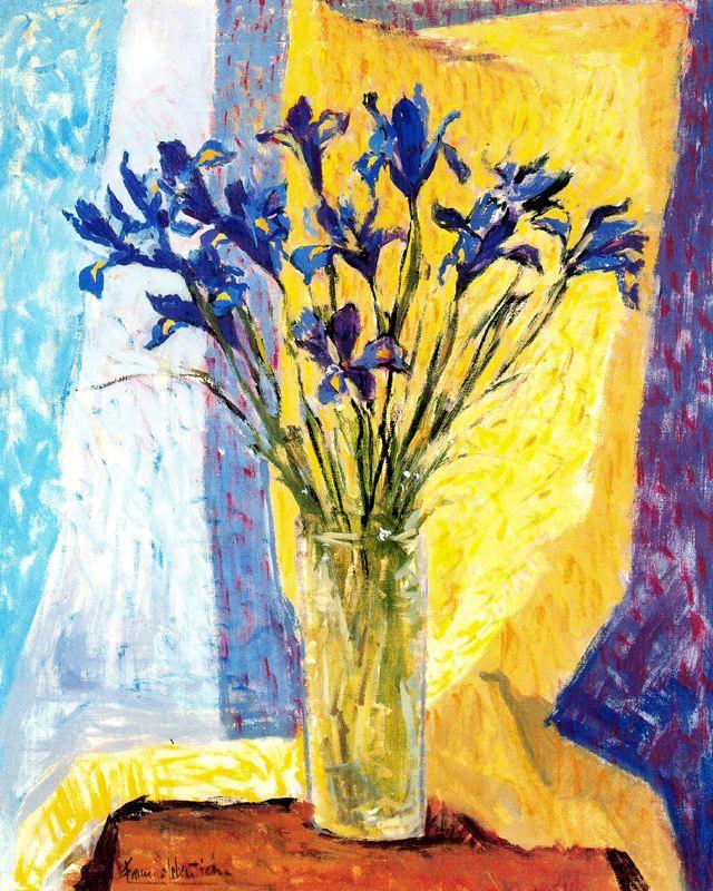 Франсиско Себастьян. Синие цветы в стеклянной вазе