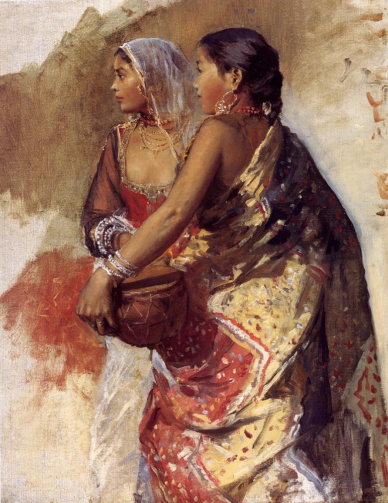 Edwin Lord Weeks. Sketch. Two girls
