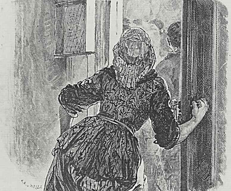 """Адольф фон Менцель. Иллюстрация к """"Разбитому кувшину"""" Генриха фон Кляйста, Девушка открывает дверь"""