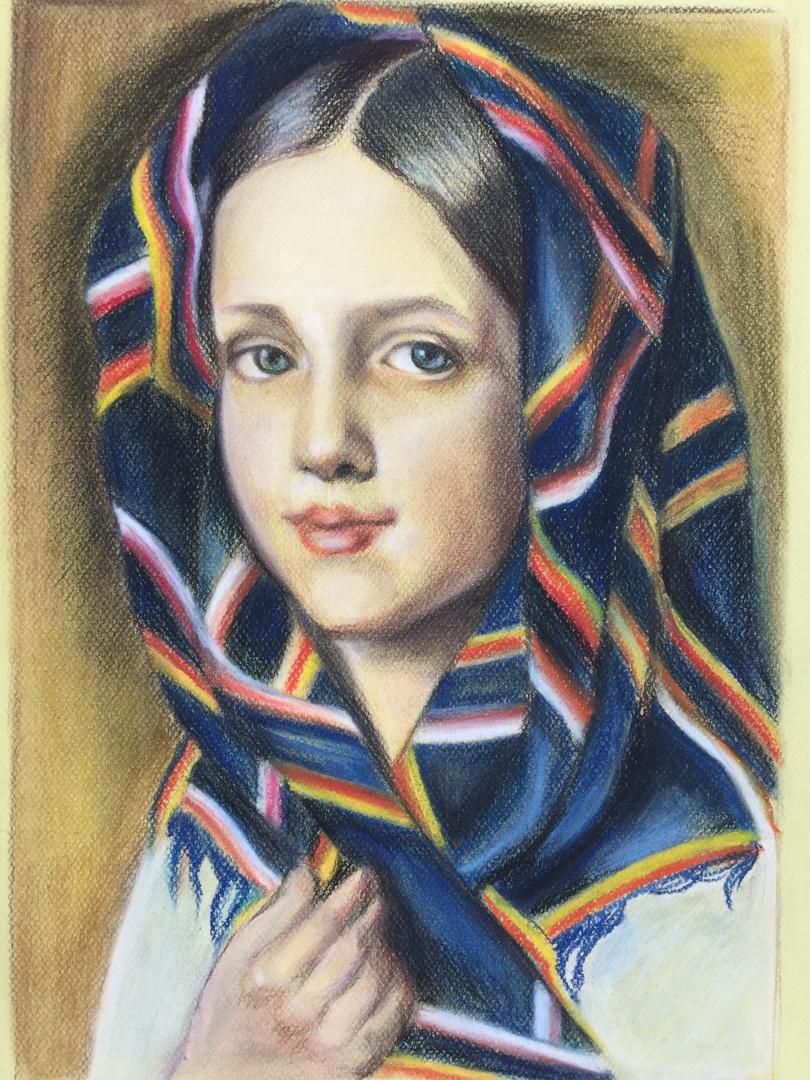 Marina Tumilovich. Girl in a scarf. A copy of the picture Venetsianov