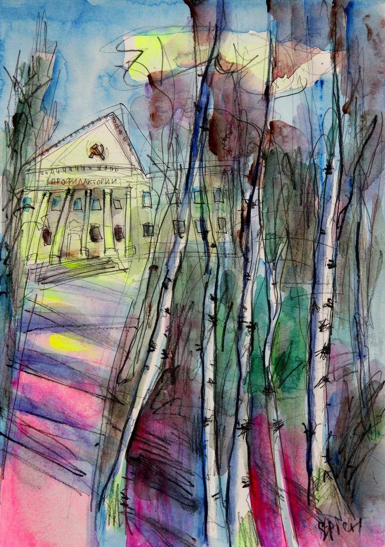 "Ilya Pavlovich Spichenkov. ""Birch trees inspire, especially against the background of a forgotten dispensary."" First impression"