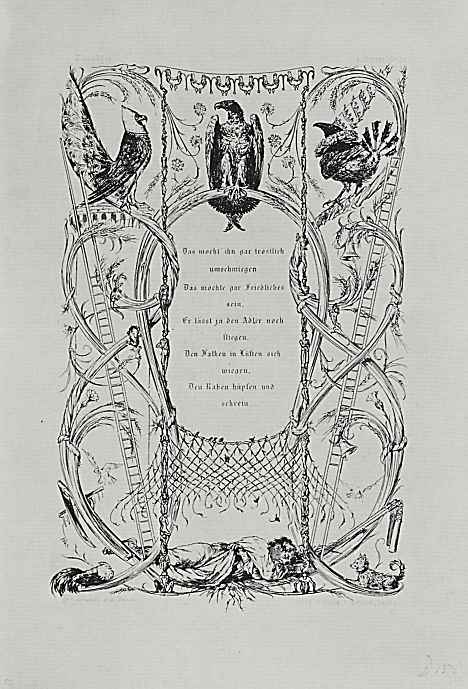 """Адольф фон Менцель. Иллюстрация к стихотворению Анастазия Грюна """"Птицы - сборщики податей"""""""
