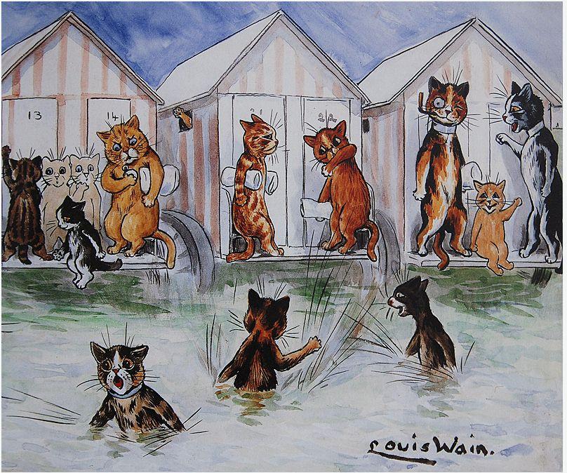 Луис Уэйн. Коты на пляже