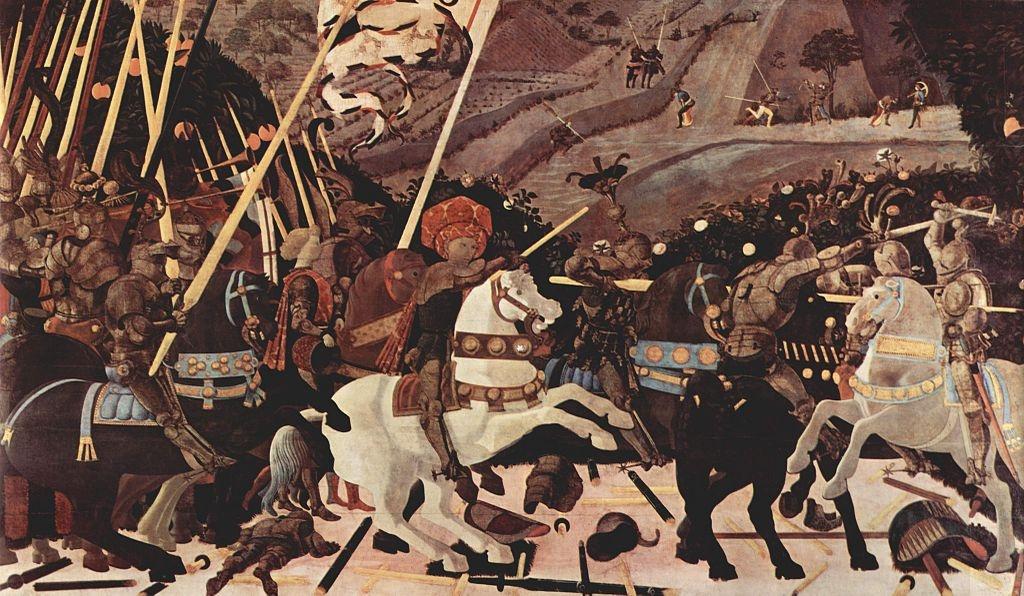 Паоло Уччелло. Битва при Сан-Романо. Атака Никколо да Толентино