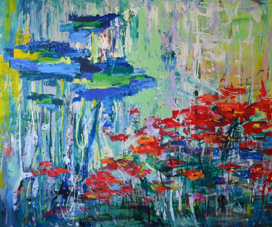 """Tanya Vasilenko. """"Poppy field"""" acrylic on canvas. Poppy field. Acrylic on canvas."""