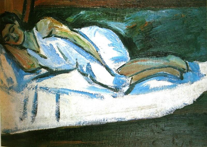 Mikhail Larionov. Portrait of a sleeping Natalia Goncharova