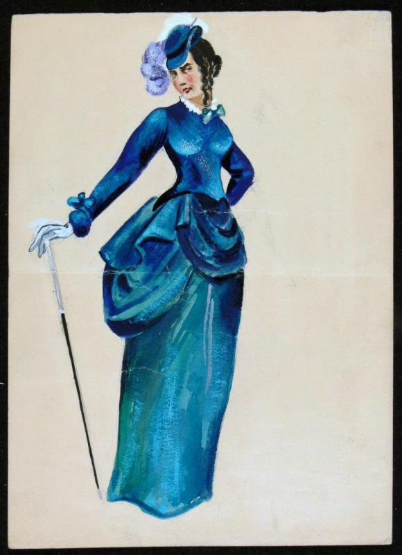 "Vladimir Vasilyevich Popov. Sketch of a female costume. ""Wolves and sheep"""