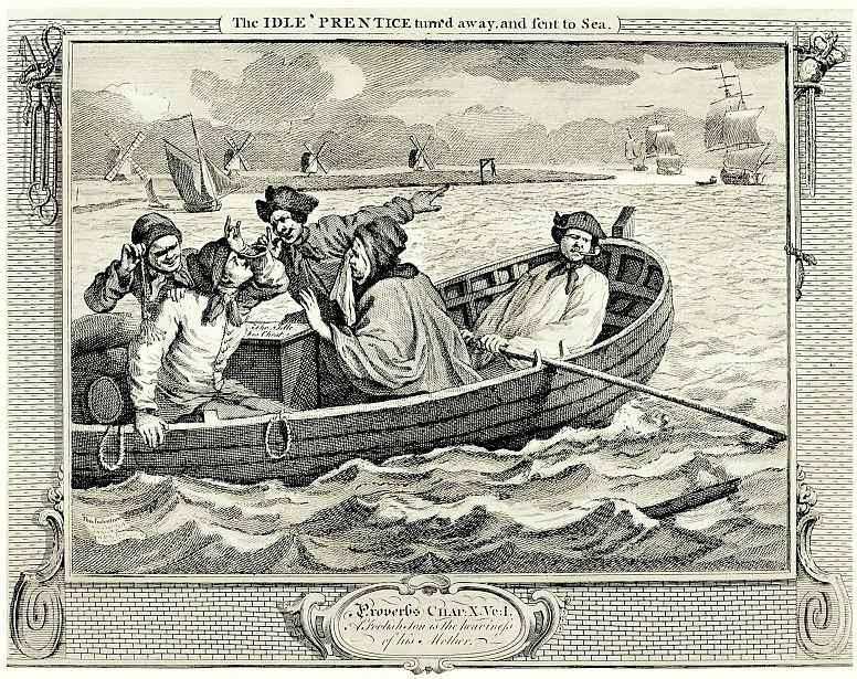 Уильям Хогарт. Ленивый, выгнанный хозяином, оказывается в море