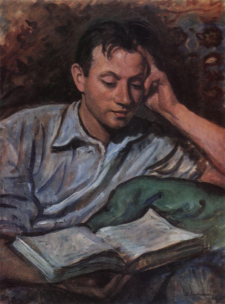 Zinaida Yevgenyevna Serebriakova. Alexander Serebryakov, reading a book
