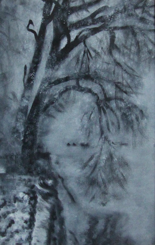 Lyudmila Nikolaevna Yevtushenko. Bowed tree by a river