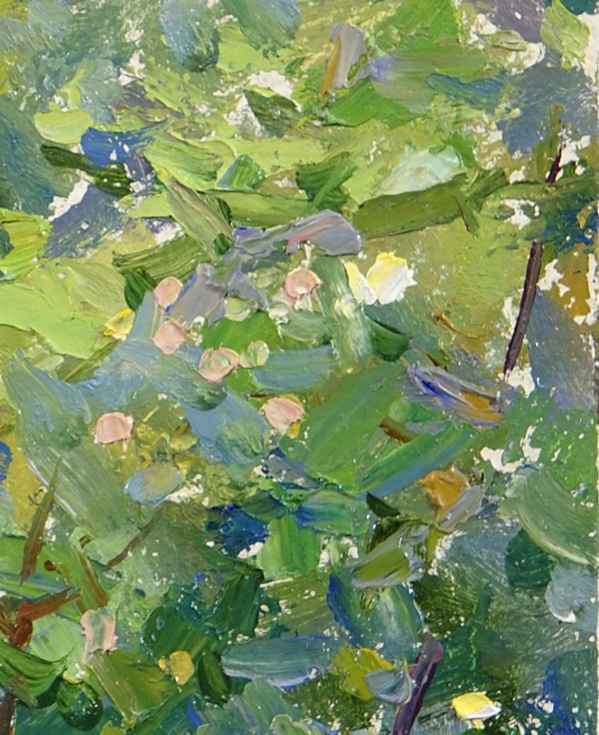 Цветущий сад в Шереховичах. Картон, масло 25 х 25,3 см. 2021