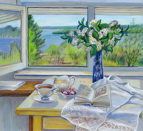 Irina Soboleva. Tea, bird cherry, attic