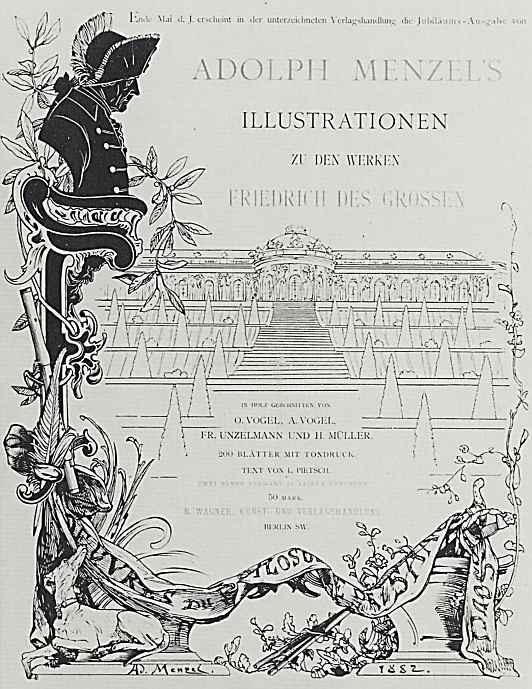 """Адольф фон Менцель. Проспект юбилейного издания иллюстраций к книге """"Деяния Фридриха Великого"""""""