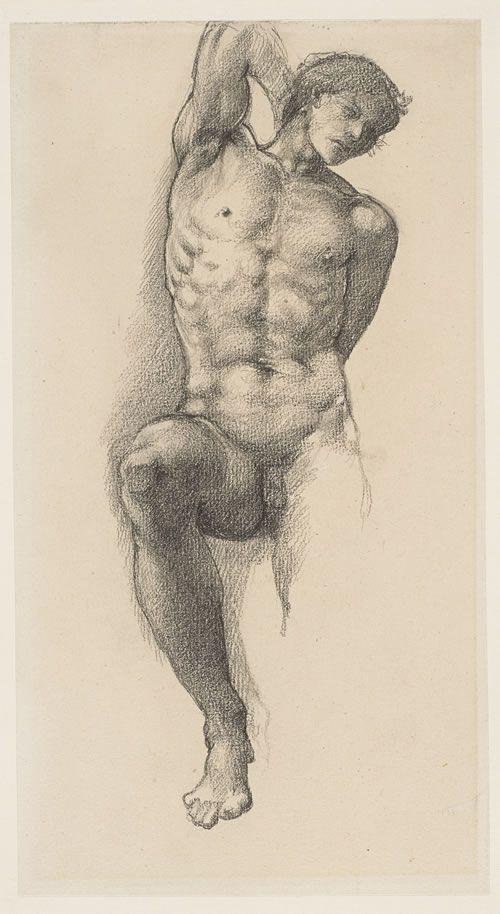 Эдвард Коли Бёрн-Джонс. Набросок раба для картины «Колесо Фортуны»