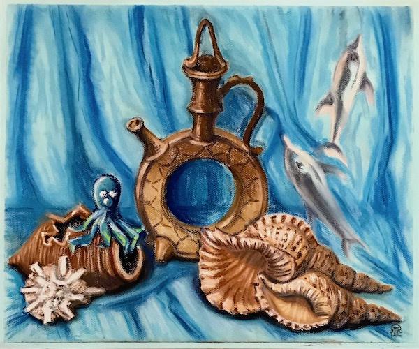 Larissa Lukaneva. Still life with ceramics and sea shells.