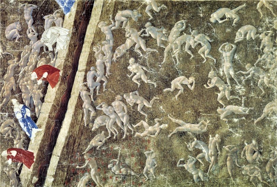 Sandro Botticelli. Sodomites. Hell. Illustration for the Divine Comedy