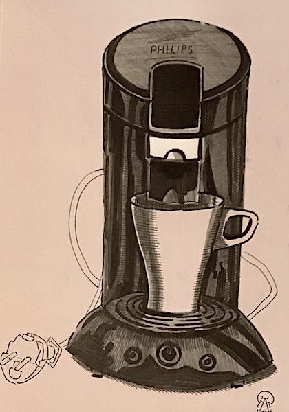 Larissa Lukaneva. Coffee maker. Sketch.