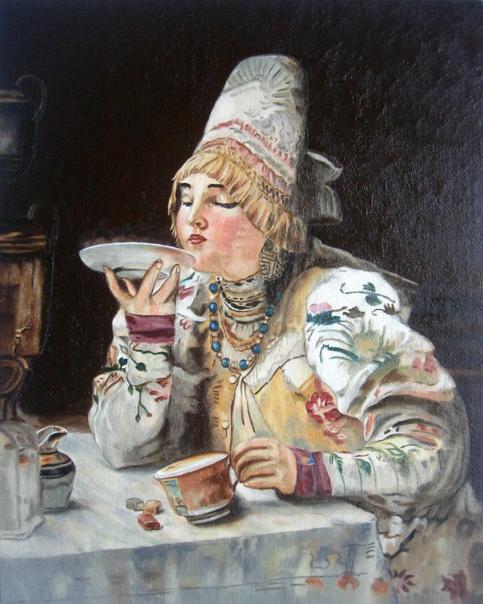 "Tatyana Titova. A copy of the picture Makovsky, ""at tea"""
