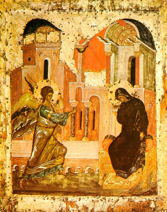 Icon Painting. The Annunciation Of The Virgin