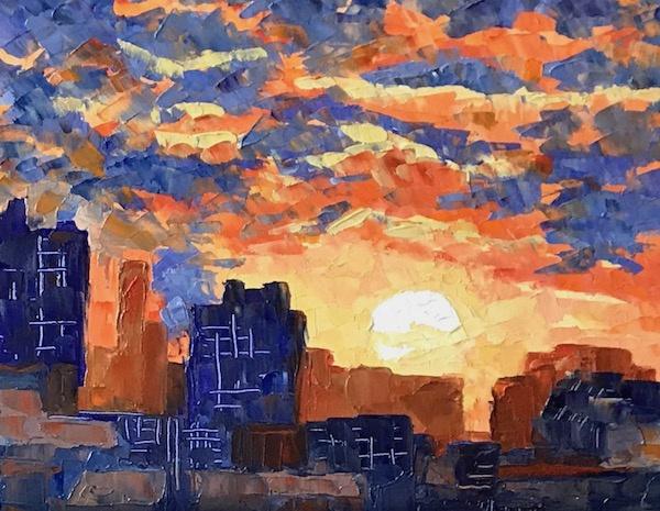 Larissa Lukaneva. Sunset over the city